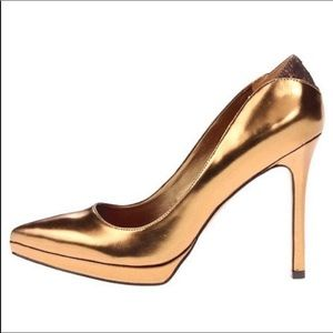 Sam Edelman gold bronze leather pumps
